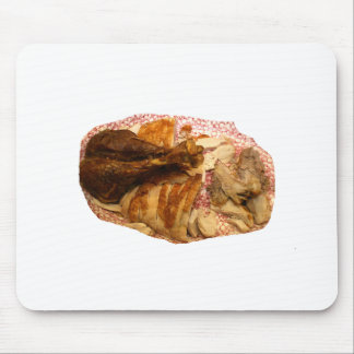 pierna y carne de pavo en el disco blanco rojo alfombrillas de ratones