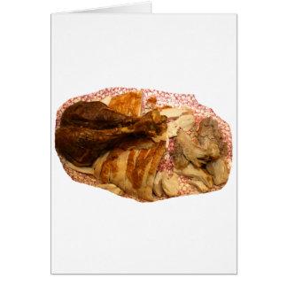 pierna y carne de pavo en el disco blanco rojo tarjetas
