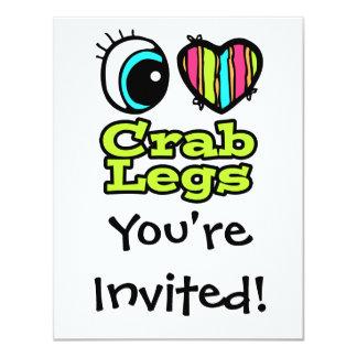 """Piernas de cangrejo brillantes del amor del invitación 4.25"""" x 5.5"""""""