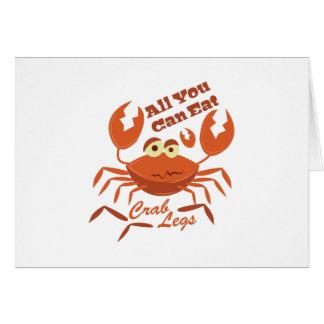 Piernas de cangrejo tarjeta de felicitación