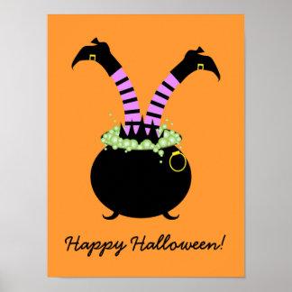 Piernas de la bruja en el pote negro, feliz póster