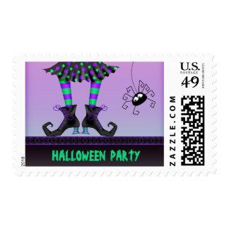 Piernas de la bruja y fiesta caprichosos de timbres postales