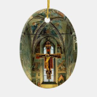 Piero Francesca- View of the Cappella Maggiore Double-Sided Oval Ceramic Christmas Ornament