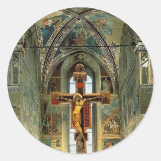Piero Francesca- View of the Cappella Maggiore Round Stickers