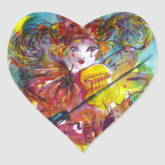 PIERO PLAYING VIOLIN / Venetian Carnival Night Heart Sticker