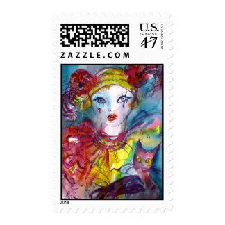 Piero with cat / Venetian Masquerade Masks Postage Stamp