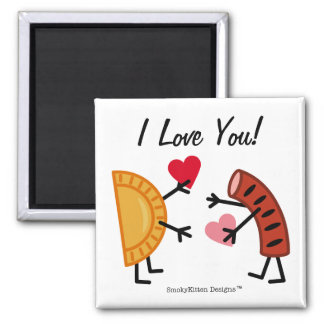 Pierogi & Kielbasa - I Love You! (customizable) 2 Inch Square Magnet