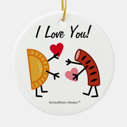 Pierogi & Kielbasa - I Love You! (customizable) Ceramic Ornament - Pierogi & Kielbasa - I Love You! (customizable) Ceramic Ornament