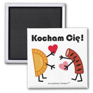 Pierogi & Kielbasa - Kocham Cie! (I Love You!) 2 Inch Square Magnet