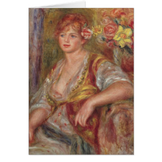 Pierre A Renoir | Blonde Woman with a Rose Card