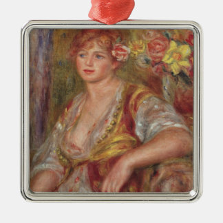 Pierre A Renoir | Blonde Woman with a Rose Metal Ornament