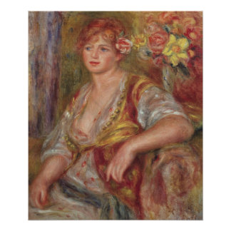 Pierre A Renoir | Blonde Woman with a Rose Poster