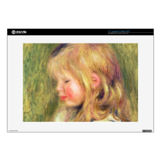 Pierre A Renoir | Child in a White Shirt Reading Skin For Laptop