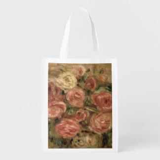 Pierre A Renoir   Flowers Reusable Grocery Bag