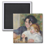 Pierre A Renoir   Gabrielle and Jean, c.1895-6 2 Inch Square Magnet
