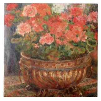 Pierre A Renoir | Geraniums in a Copper Basin Ceramic Tile