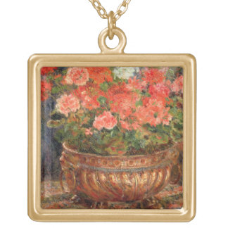 Pierre A Renoir | Geraniums in a Copper Basin Gold Plated Necklace