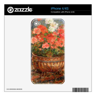 Pierre A Renoir | Geraniums in a Copper Basin Skins For The iPhone 4