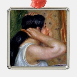 Pierre A Renoir | Girl Combing her Hair Metal Ornament