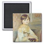 Pierre A Renoir   Julie Manet with Cat, 1887 2 Inch Square Magnet