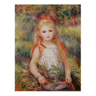 Pierre A Renoir | Little Girl Carrying Flowers Postcard