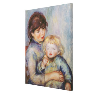Pierre A Renoir | Maternity, Child with a biscuit Canvas Print