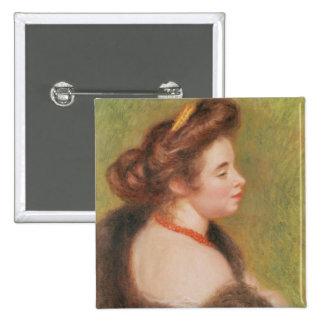 Pierre A Renoir | Portrait of Mme. Maurice Denis Pinback Button