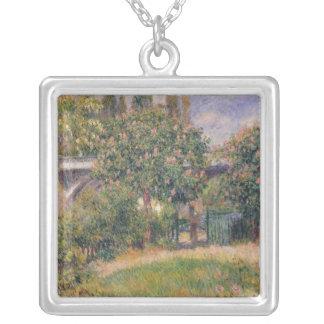 Pierre A Renoir | Railway Bridge at Chatou Silver Plated Necklace