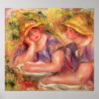 Pierre A Renoir   Two women in blue blouses Poster