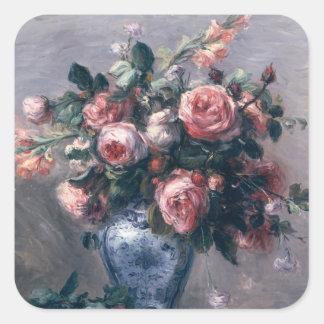 Pierre A Renoir | Vase of Roses Square Sticker