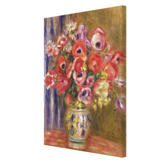 Pierre A Renoir | Vase of Tulips and Anemones Canvas Print