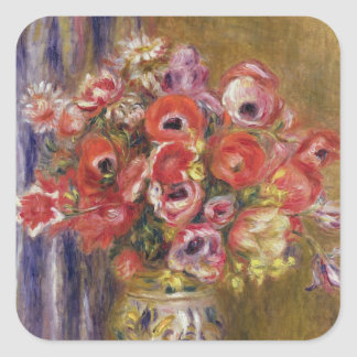 Pierre A Renoir | Vase of Tulips and Anemones Square Sticker