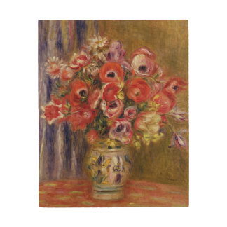 Pierre A Renoir | Vase of Tulips and Anemones Wood Wall Art