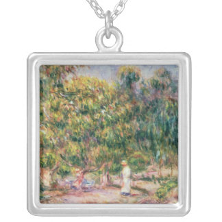Pierre A Renoir | Woman in Garden of Les Colettes Silver Plated Necklace