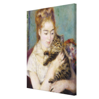 Pierre A Renoir | Woman with a Cat Canvas Print
