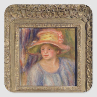 Pierre A Renoir | Woman with a Hat Square Sticker