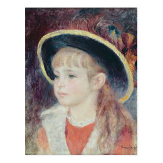 Pierre A Renoir | Young Girl in a Blue Hat Postcard