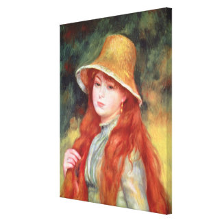 Pierre A Renoir   Young girl in a Straw Hat Canvas Print