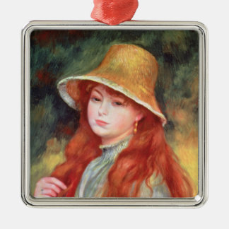 Pierre A Renoir | Young girl in a Straw Hat Metal Ornament