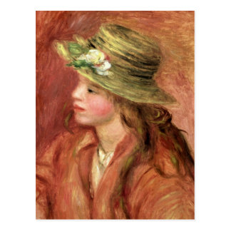 Pierre A Renoir | Young Girl in a Straw Hat Postcard