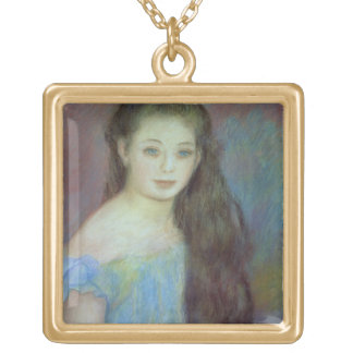 Pierre A Renoir | Young girl with blue eyes Gold Plated Necklace