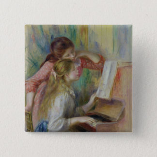 Pierre A Renoir | Young Girls at the Piano Pinback Button