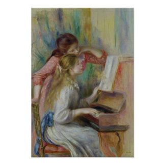 Pierre A Renoir | Young Girls at the Piano Poster