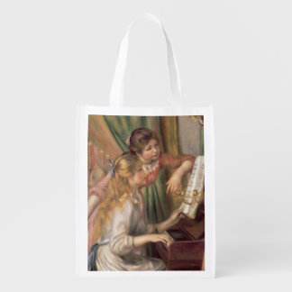 Pierre A Renoir | Young Girls at the Piano Reusable Grocery Bag