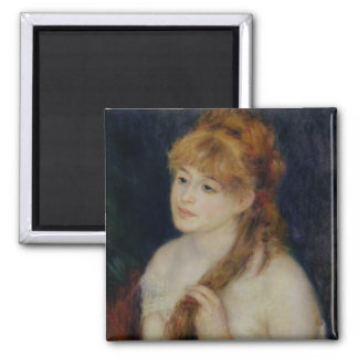 Pierre A Renoir   Young Woman Braiding her Hair Magnet