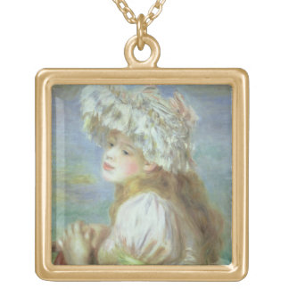 Pierre A Renoir | Young woman in a lace hat Gold Plated Necklace