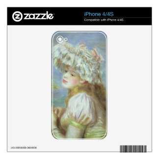 Pierre A Renoir | Young woman in a lace hat iPhone 4 Decals