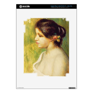 Pierre A Renoir | Young Woman with Flowers at Ear iPad 3 Decals