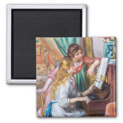 Girls at the Piano by Pierre Auguste Renoir 2-inch Square Magnet