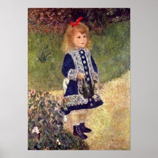 Pierre-Auguste Renoir - chica con la regadera Poster